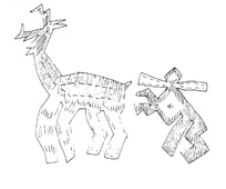 简单线条画-鹿和扛木头的人