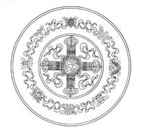 八宝纹和十字纹组合的圆环图案