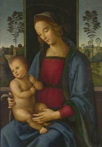 抱着全身光裸的小孩的女人油画