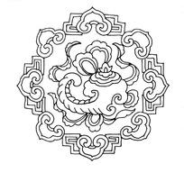 连接云纹环绕法轮纹法螺纹犀角纹的吉祥图案