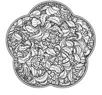 梅花边框桂花团花纹样