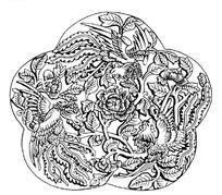 梅形边框凤纹牡丹矢量纹样