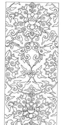 中国古典图案-缠枝宝相花纹竖图图案