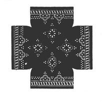 Z线条/对称花瓣圆点构成的民间布料花纹图案