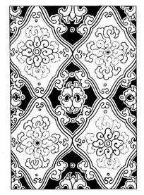 弧边卷纹菱边花纹构成的矢量背景素材