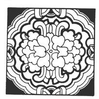连弧纹并蒂牡丹纹构成的方图图案