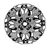 蛇纹龟纹麻点菱形构成的扇形黑白图案图片