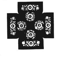 十字分布花团纹样民间布料花纹图案