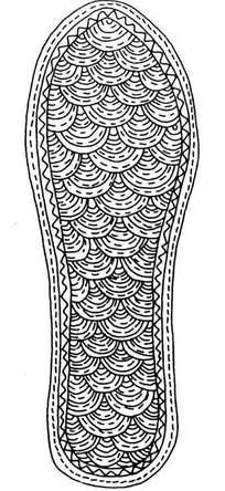 手绘鱼鳞纹鞋垫