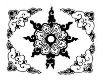 云头卷曲纹构成的四角花八脚轮型花纹图案