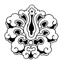 中国古典卷曲纹构成花朵型花纹矢量图