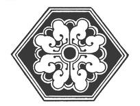 中国古典图案-卷曲纹花朵构成的六边形图案