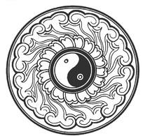 中国古典图案-太极花卉祥云圆形图案