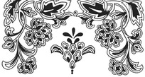 左右对称折枝牡丹花纹横图图案