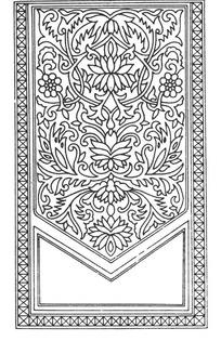 缠枝花纹角线纹和U形几何纹框构成的竖图图案