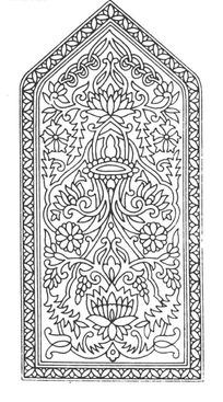上三角下方框内缠枝花纹和旋绕卷枝构成的图案