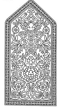 上三角下方框内缠枝花纹曲枝卷叶构成的图案
