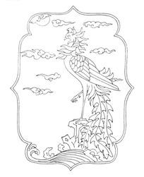 矢量手绘高傲的凤凰插画图形