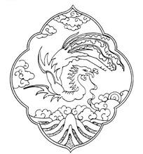 矢量手绘中国古代凤凰插画图形