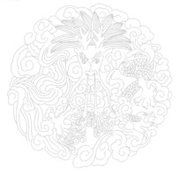 手绘祥云下的的龙形图案图片