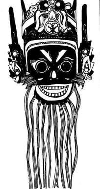 中国古典图案-长胡子的戴帽子的脸谱