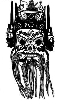 中国古典图案-戴帽子的长胡子的男子的脸谱