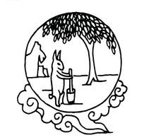 桂花树下玉兔捣药的圆形古典图案