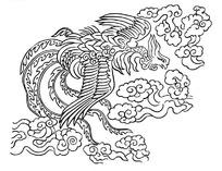 矢量手绘美丽的凤凰插画图形