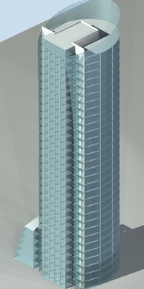时尚现代风格圆形商业大厦3D立体模型
