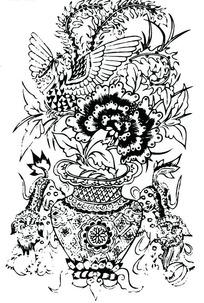 牡丹花篮/狮子滚绣球/凤凰构成的吉祥图案