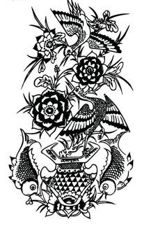 牡丹花篮/双鱼/双鹤构成的吉祥图案