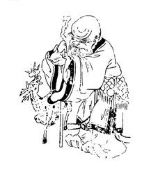 手绘老寿星与神鹿矢量素材