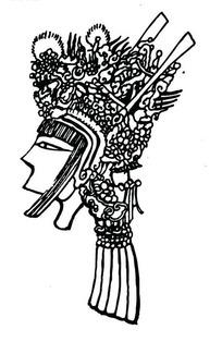 中国古典图案-戴装饰帽子的女子侧面头像