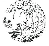 中国古典图案-鸯鸯荷花荷叶萱草