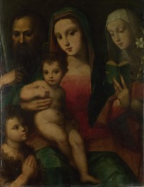 带头巾的母亲单手抱小孩的欧洲油画