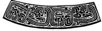 中国古典图案-卷曲纹龙纹构成的斑驳的弧形图案