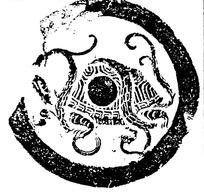 中国古典拓印瓦当图案-玄武纹瓦当图案