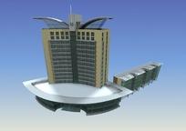 翅膀形状的高层建筑3D模型