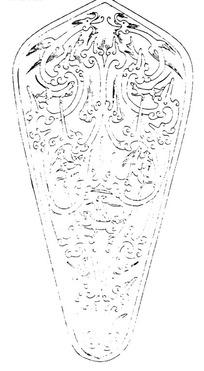 龙纹卷曲纹动物纹构成的叶形斑驳图案