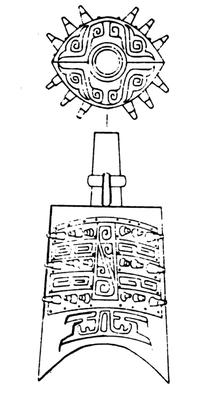 窃曲纹乳钉纹夔龙纹装饰的编钟线描矢量图