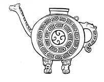 手绘带手柄双足的动物造型的陶瓷酒壶