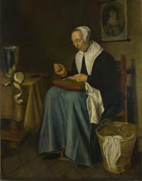 坐在椅子上缝纫的外国老妇人油画