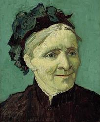 微笑的外国老妇人油画