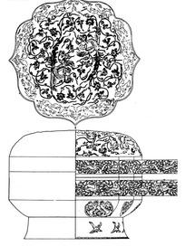 卷曲纹动物凤鸟纹缠枝纹几何线构成的古器图