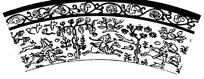 卷枝花叶边纹的林中狩猎线描扇形图