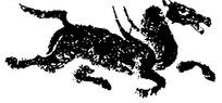 中国古典图案-飞奔的马构成的斑驳模糊的图案