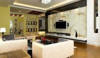 简约客厅内隔断酒柜方向的设计效果图