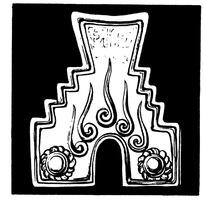 卷曲纹乳钉花瓣纹阶梯拱门边沿构成的凸形古器