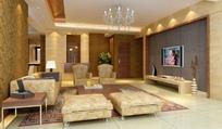 欧式黄色温暖水晶客厅设计效果图