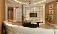 欧式圆形吊灯客厅设计效果图